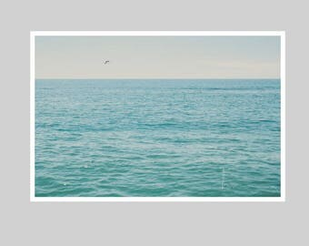 pacific ocean print, santa monica beach, beach photograph, california print, blue teal turquoise aqua, nautical print, home decor, wall art