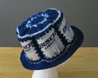 Crocheted Beer Can Hat - Busch Light
