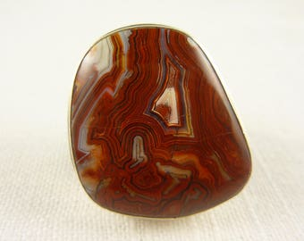 Size 8.25 Vintage Sterling Lace Agate Large Heavy Ring