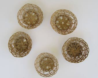 Set of Five Small Baskets for use or Wall Decor