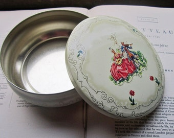 Vintage Tin Box * Round Daher Tin * pot belly Shaped Tin * Georgian * Music and Flowers * Pretty storage * Made in England * Gift Giving *