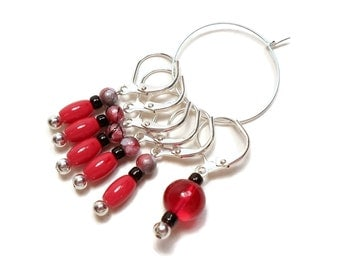 Removable Stitch Markers Crochet Row Markers Cherry Red Black Locking Knitting Supplies DIY Crafts