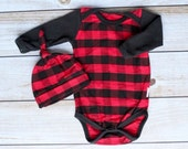 Buffalo Plaid Baby Onesie and Hat Set - Baby Boy Onesie and Hat Set - Plaid Baby Boy Set - Newborn Boy Outfit