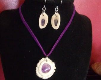 Deer Antler Jewelry, Amathyst Jewelry, Deer Antler and Gemstone Jewelry, Antler Necklace, Antler Earrings, Woodland Princess,