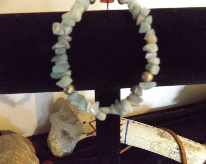 Amazonite Crystal Bracelet, Crystal and Gem Stone Jewelry, Mystical Jewelry, Spiritual Bracelet, Vergo Birth Stone, Chakra Crystal,