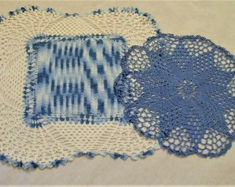 Crochet Doily, Doily, Vintage Doily, Round doily, square doily, Blue and White Doily, Pair of Doilies,