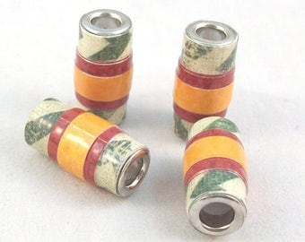 Paper Beads Handmade Large Hole Tube with Gloss Finish