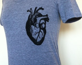 Heart T-Shirt Womens Slim Fit Sizes Small Medium Large XLarge Anatomical Heart