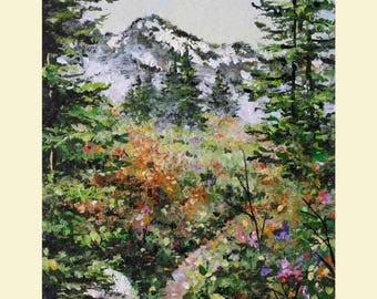 "Landscape Painting Tree Painting Mountain Path Original Painting 4"" x 6"" Modern Contemporary Art by Debora Everett"