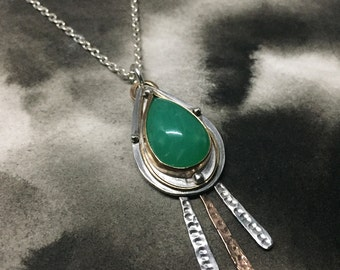 Stjarna hammered sterling silver and rose gold filled meteor pendant with bright green chrysoprase