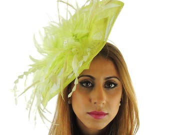 Petia Small Lime Fascinator Hat for Weddings, Races, and Special Events With Headband
