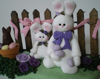 Polymer Clay Easter Bunny Scene by Helen's Clay Art