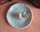 Ring holder dish,  ring bowl, antique lace, ceramic ring dish, Mint green bridesmaid dish,