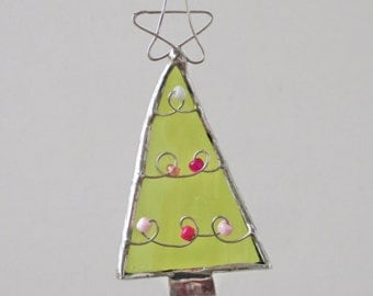 Green Christmas Tree with Pink Ornaments  - Upcycled Stained Glass Suncatcher