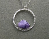 Charolite Gemstone Fabricated Sterling Silver Circle Cabochon Metalwork Necklace