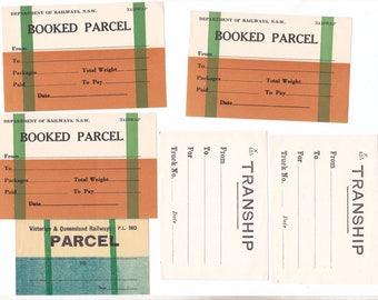 Lot of 6 x Vintage QLD & NSW Railways Parcel Labels, Railroad Ephemera, Train Memorabillia