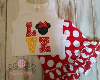 Monogrammed Mouse Applique Tank Top and Ruffle Shorts, Vacation Outfit, Mouse Birthday Outfit, Polka Dot Ruffle Shorts, Love Mouse Tank Top