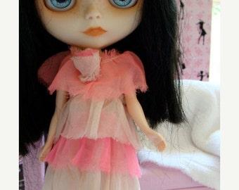 ON SALE Blythe Handmade Pink Vintage Rare Antique Skipper Doll Dress fits Blythe The Birthday Dress