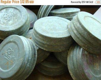 ON SALE Vintage  Antique Mason Jar Lids Aged Zinc Ball Canning Jar Lids