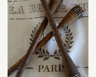 ON SALE 3 Antique French Wooden Spools Bobbins