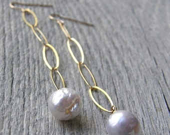 20% OFF Long Large Pearl Drop and Gold Chain Earrings, Bridal Earrings