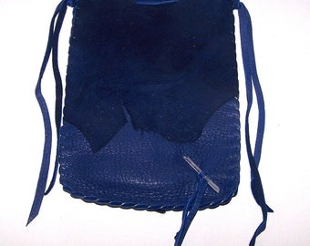 Drawstring Runes Bag...Leather Medicine Bag / Tarot Bag..BLUE