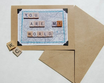 Vintage map scrabble tile Colorado 'You are my world' blank inside love wedding engagement greeting card