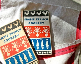 1958 Vintage French Cookery Cook Book/Peter Pauper Press/Collectible/ScreenPrint Illustrated/Vintage Cookbook/MidCentury