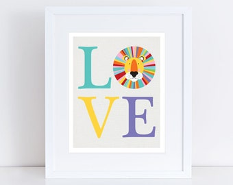 LOVE lion art print - graphic kids animal art, jungle nursery theme african sarafi, colourful wall art, nursery decor kids room babies room