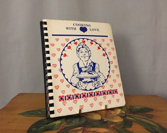 Cooking with Love Cookbook Vintage 1988 Blue Spiralbound White Paperback Red Hearts Recipe Book