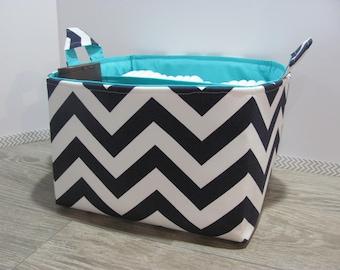 SALE Fabric Diaper Caddy - Storage Container Basket - Organizer Bin - 10 x 10 x 6 - Bucket- Baby Gift - Nursery - Navy chevron - RTS