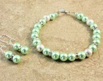 Light Green Silver Glass Pearl Wedding Bracelet and Earrings Bridesmaid Bridal