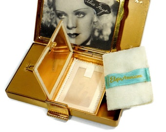 Vintage Makeup Compact | Elgin American | Mid Century Cosmetic Clutch | Decorative Beauty Case | Gift For Her | Lipstick Tube Powder Puff