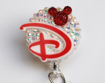 D Is For Disney In Red ID Badge Reel - Retractable ID Badge Holder - Zipperedheart