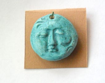 Stoneware Turquoise Fired Clay Face Pendant Finding