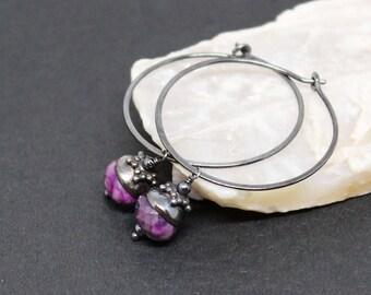 Sugilite Gemstones . Oxidized Sterling Silver Dangle Drop Hoop Earrings . Mottled Shades of Grape Purple . E16189