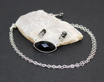 Black Onyx and Rutilated Quartz Gemstone . Sterling Silver Pendant Necklace . Jet Black, Crystal Clear . N16097