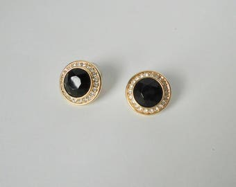 Gold tone with Clear and Black Faceted Rhinestones Post Earrings. Signed MONET