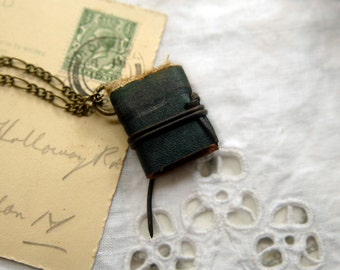 The Teeny Greenie - Miniature Wearable Book, Vintage Green Leather, Antique Lace, Tea Stained Pages - OOAK