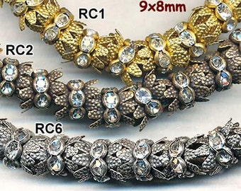 Beautiful RHINESTONE CROWNS for 8mm Beads--20 pieces