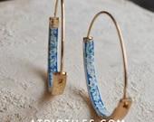 "Portugal  Antique Azulejo Tile HOOP Earrings University of Evora - Hidden Treasure - Delicate 1 1/4"" BACK ORDER - Expect up to one week"