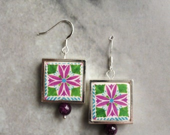 Silver Earrings Portugal Tile Portuguese Azulejo Antique FRAMED  Green and Pink  Aveiro  waterproof reversible - Gift Box Included 294