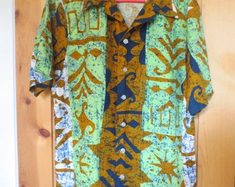 VINTAGE 1960s JANTZEN Sport Shirt -Multi Colored Tribal Tapa Print -Men's XL