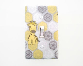 Giraffe Light Switch Cover - Jungle Switch Plate - Grey Yellow Nursery - Baby Switch Plate - Giraffe Outlet Cover - Gender Neutral Decor