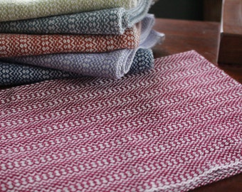 Handwoven Happy Tea Towel, Cranberry and White
