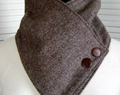 UNISEX Brown HERRINGBONE NECKWARMER Wool & Fleece Cowl/Scarf Men Women Cozy Warm  Button Accent Classic Classy