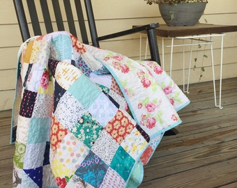 Tiny Patch Quilt, You choose Size and color palette
