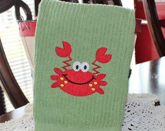 Mr. Crab Embroidered Kitchen Towel