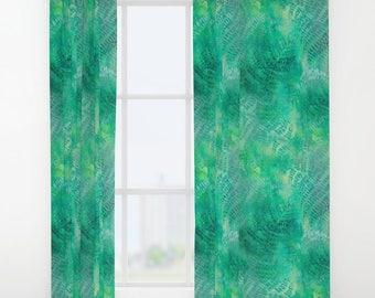 Green fern curtain, green window curtains, painted design curtain, painted fern design, green drapes panel, window treatment soft furnishing