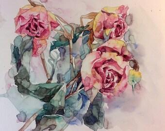 Original watercolor painting - Roses